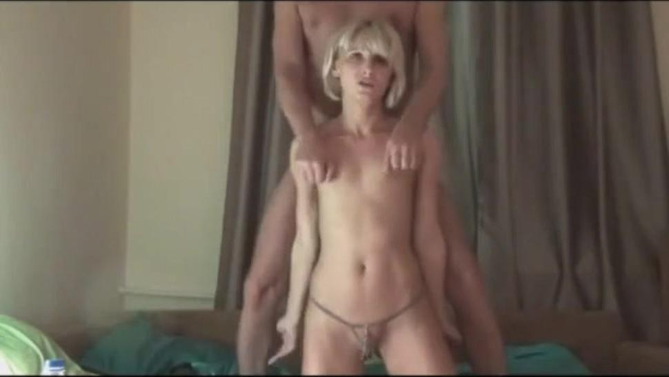 Slender blonde services her man