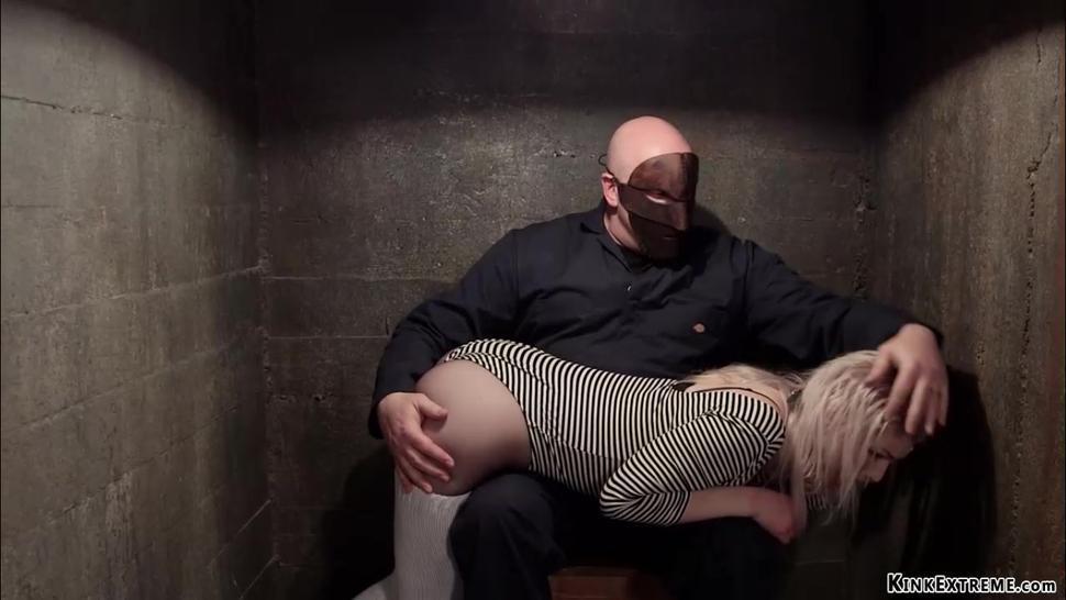 Clothed slave is otk spanked