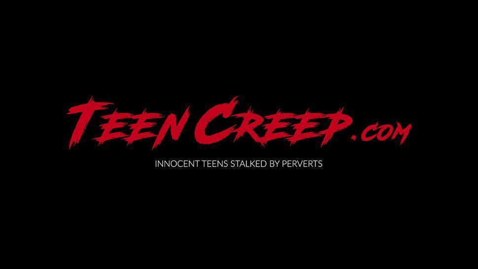 TEEN CREEP - Tied up teen Kylie Quinn blows thiefs dick before banging