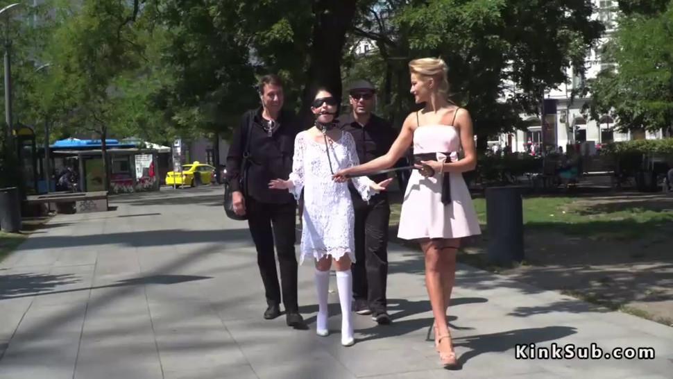 Blindfolded teen disgraced in public