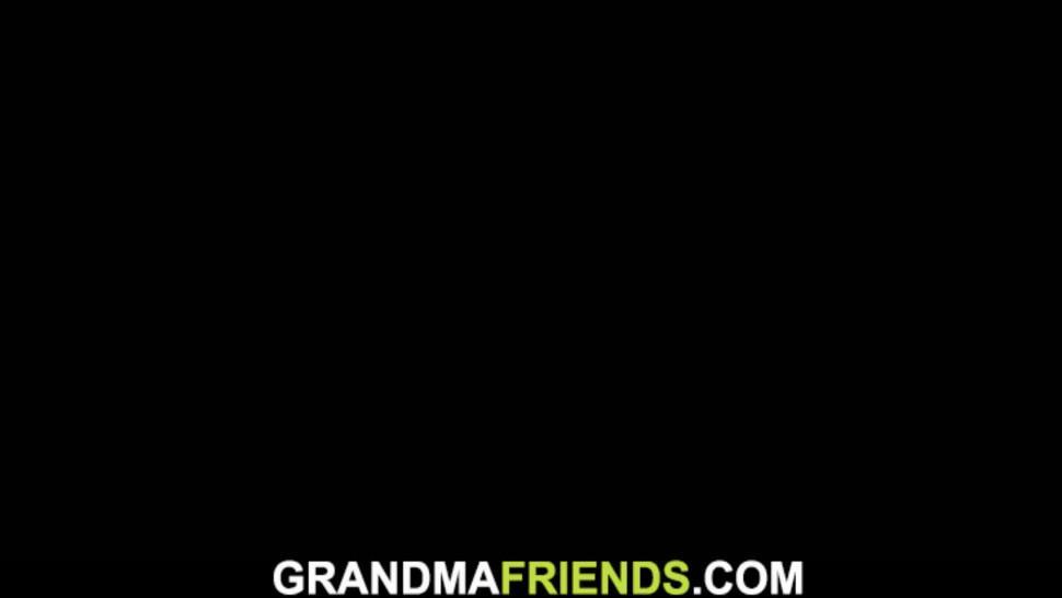 GRANDMA FRIENDS - Shaved pussy old grandma swallows two cocks