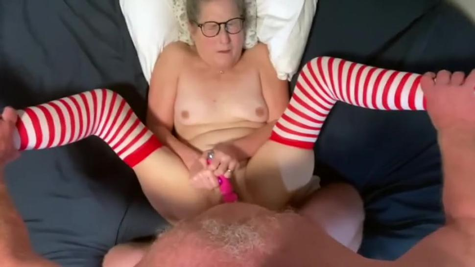 POV Mature Milf with glasses and stockings gets fucked anally takes big facial from stepdad