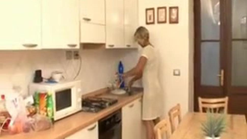 Milf Blonde Gets Great Fuck From Young Guy In Kitchen