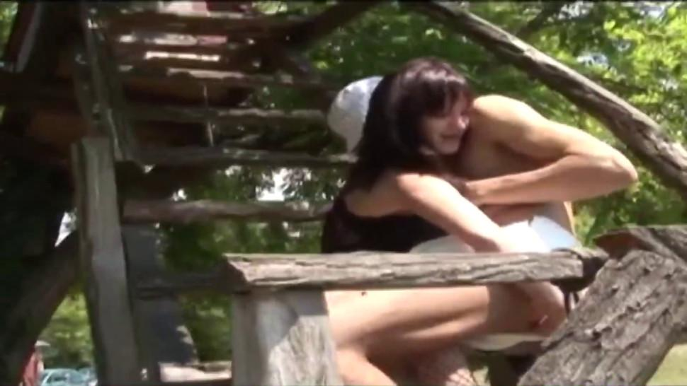 Young couple plays a funny role play with strapon banging