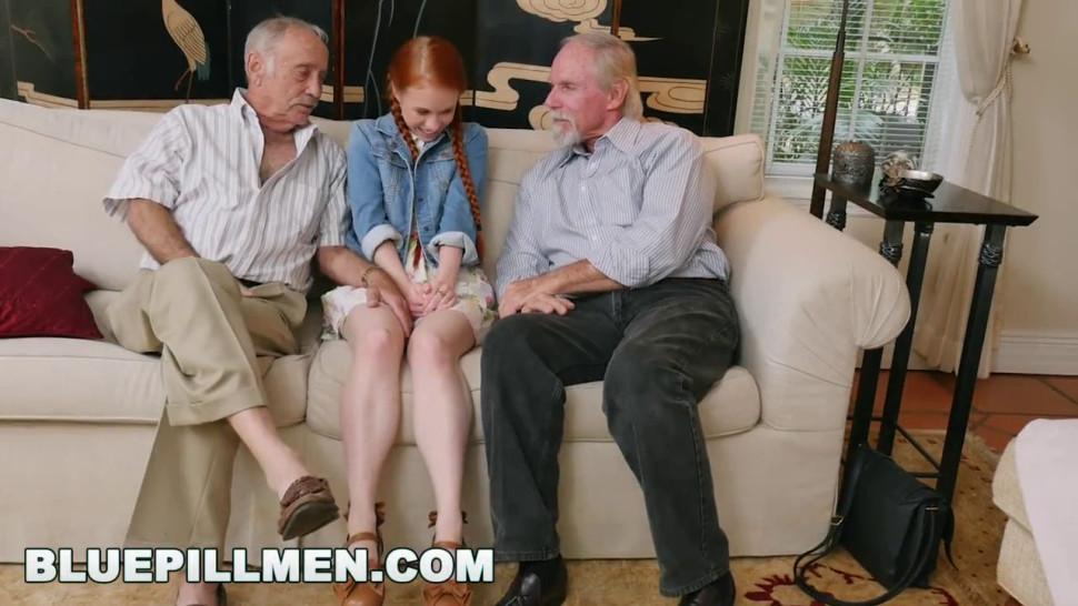 Blue Pill Men - Old Guys Frankie And Duke Play With Skinny Redhead Dolly Little