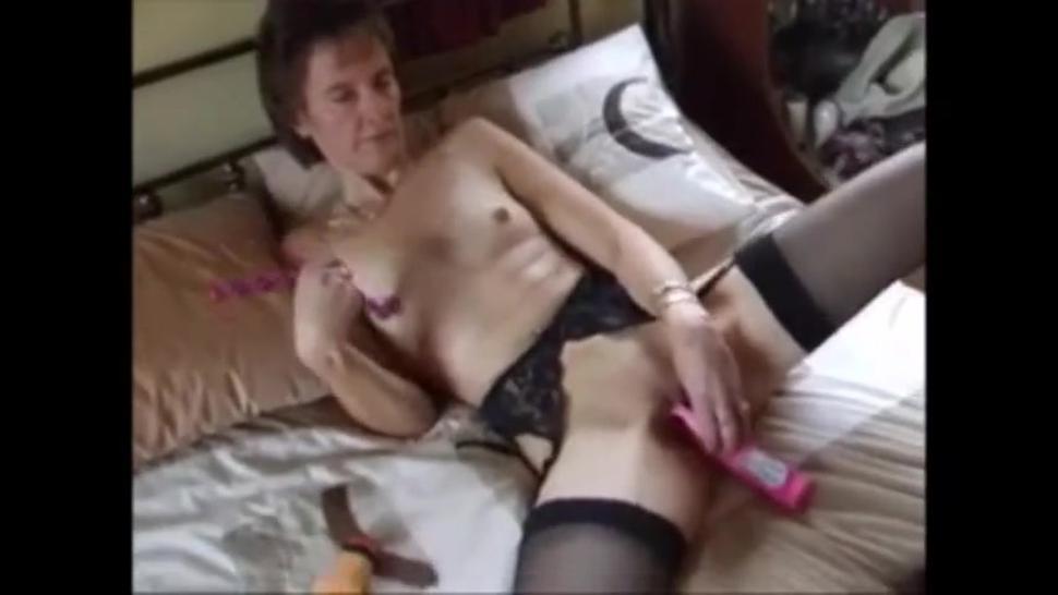 Petite Granny In Lingerie Masturbating With Toys