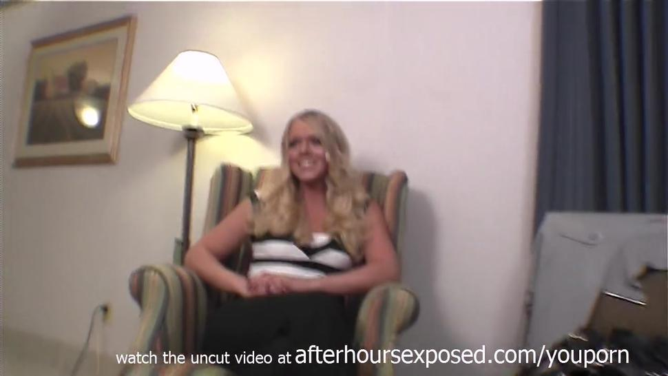 natural blonde doing first time porn casting