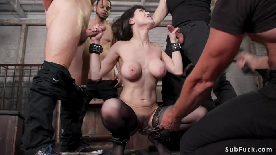 Huge tits slut group fuck and bukkake