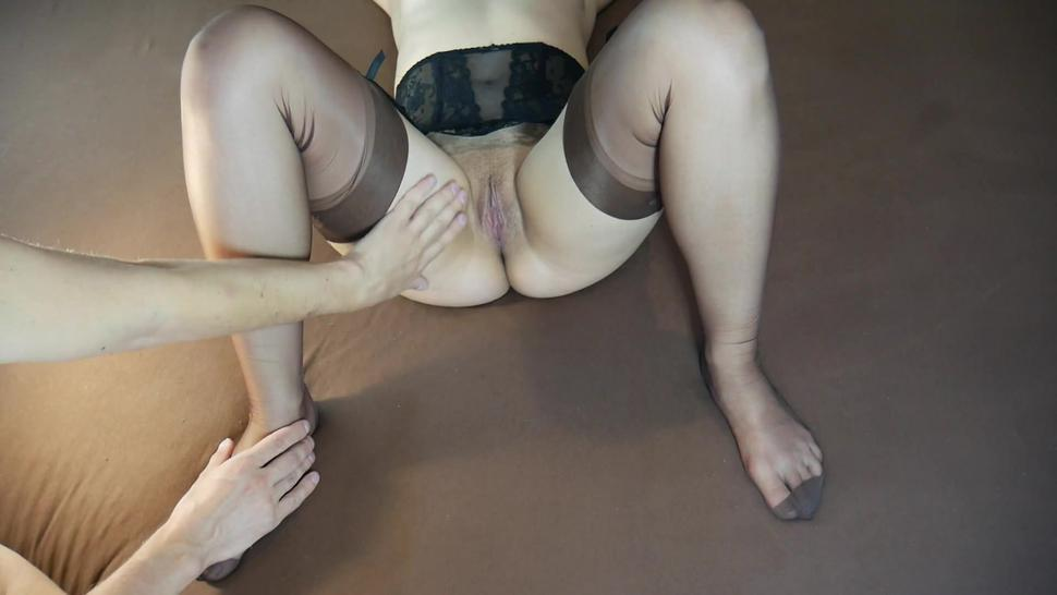 Sensual Foot Tickle and Legs Massage, MILF in Brown Stockings - Tickling Feet