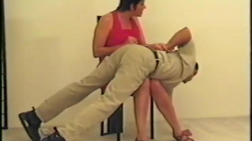 SPANKING F/M - Strong Woman Spanks Two Friends Over The Knee