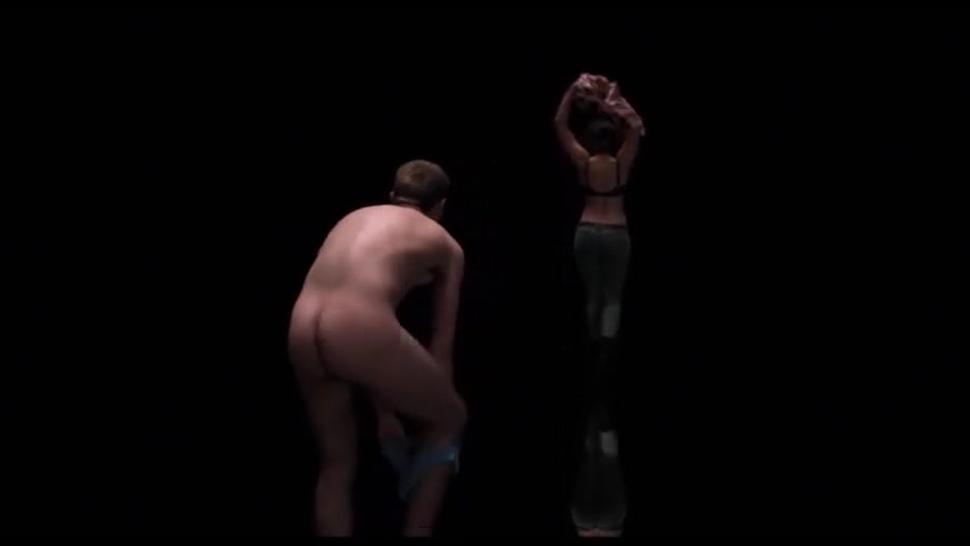 Scarlett Johansen With Naked Man. From Sci Fi/Horror Movie Under The Skin