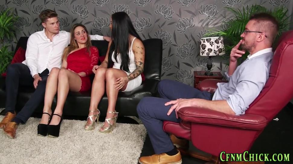 Clothed domina watched sucking and jerking
