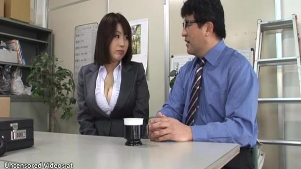 Japanese cougar with huge tits has sex