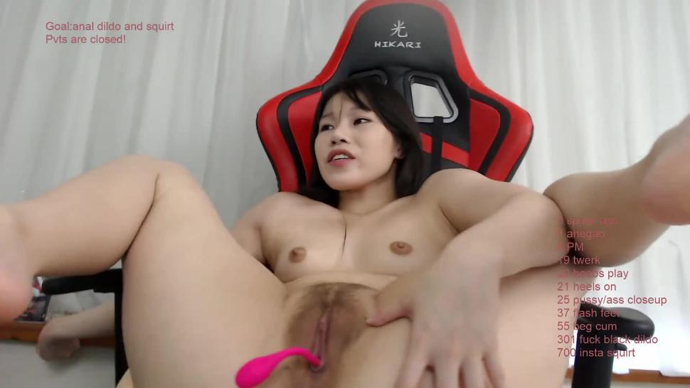 Asian camgirl anal dildo