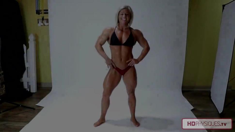 Sexy female blonde muscular
