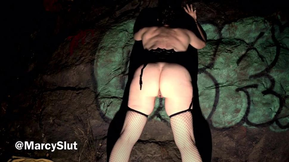 Slut Wife Outdoors Gets Whipped, Penetrated Until She Squirts A Mess