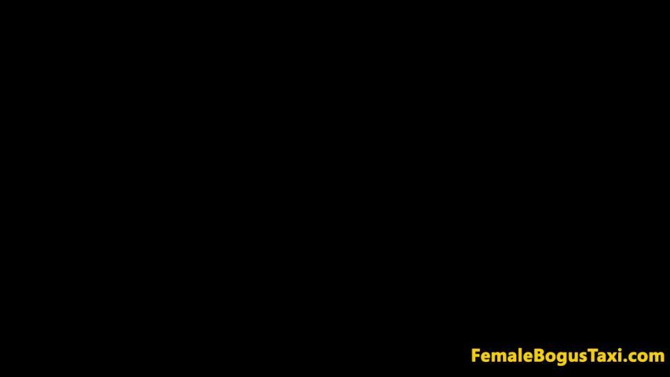 FEMALE BOGUS TAXI - Female taxi driver fingering fishnet lesbian