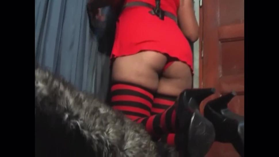 Lightskin girl tickled in striped thigh high socks