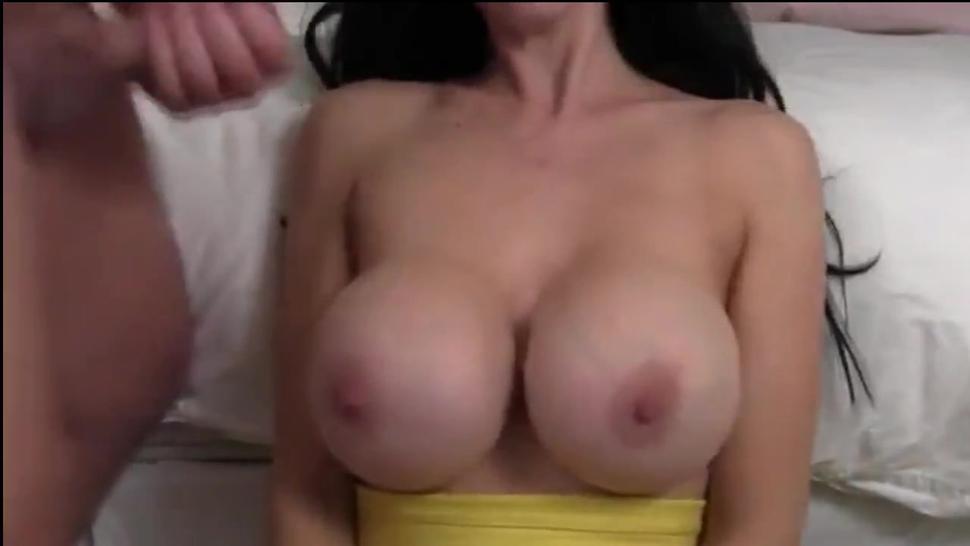 Cumming On Moms New Huge Fake Tits