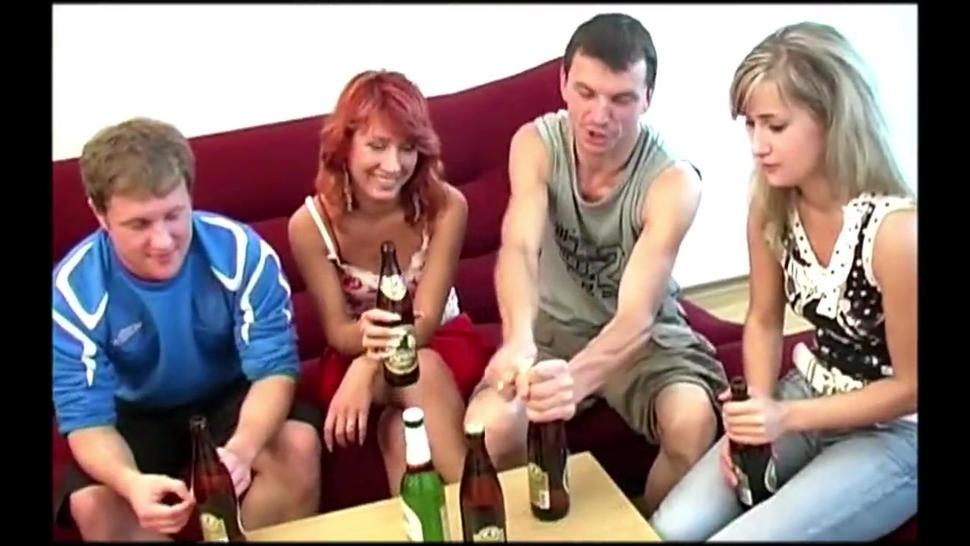 Drunk Russian bitches take dick into asses during orgy