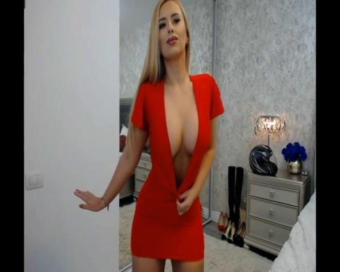 Blonde Cam-Girl Teasing in sexy Red dress