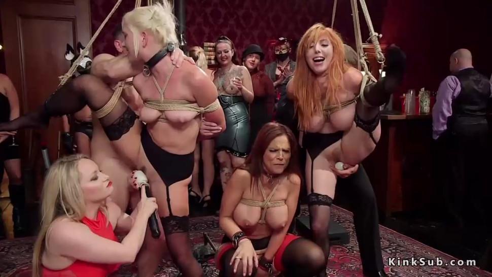 Hot lesbian slaves paddled and fucked