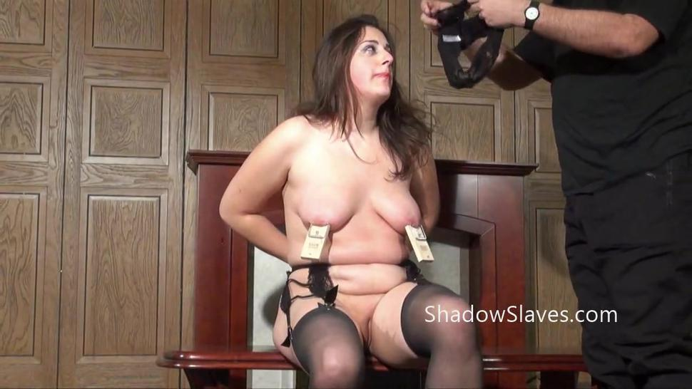 Amateur slave Jannas kinky fetish and bizarre machine fucking and pussy punished domination of private submissive in the living