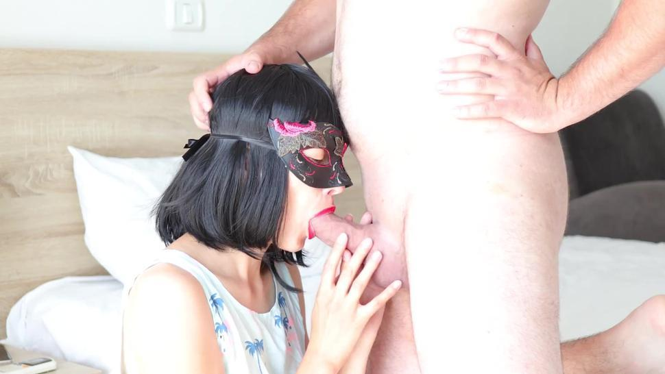 Homemade Cum in Mouth - Schoolgirl Gags When I Cum in Her Mouth - Too much CUM