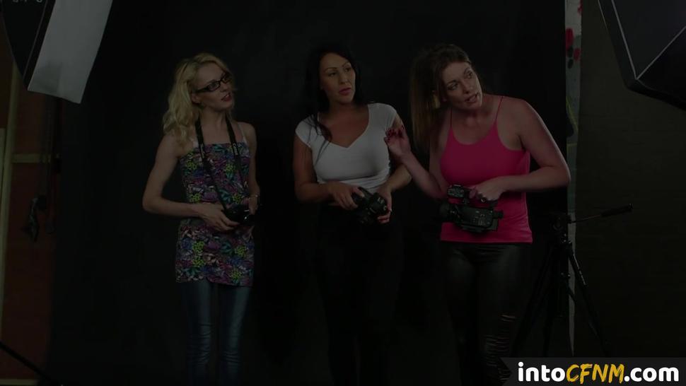PURE CFNM - British CFNM dommes filming sub during bj sesh
