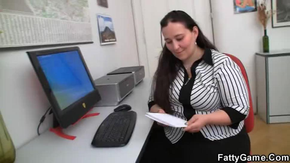 Fat office lady seduces hot guy