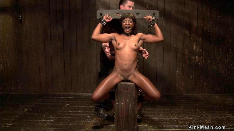 Ebony in back arch bondage vibrated