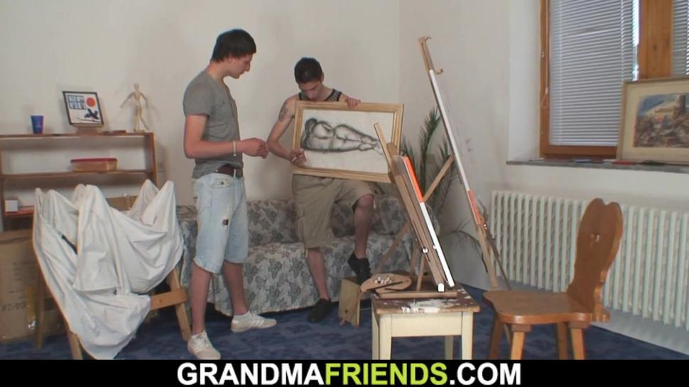 GRANDMA FRIENDS - Two young boys fuck very old granny