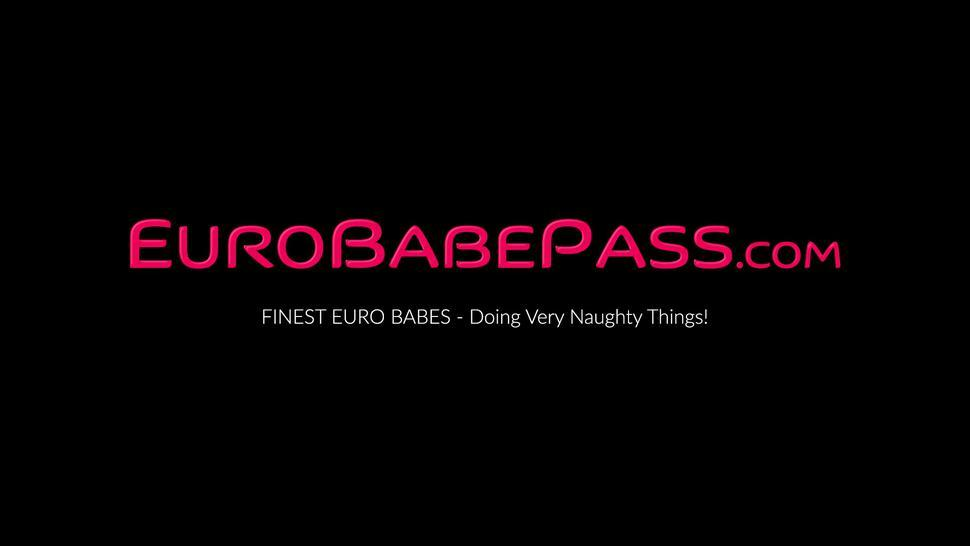 EURO BABE PASS - Bound busty Euro teen receives pussy licking from domina