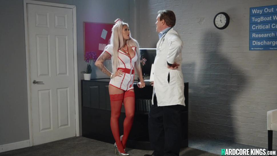 Little doctor fucking big tits nurse