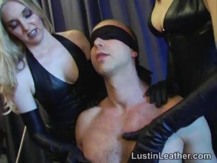 Two Leather Gloved Mistresses Tease Bound Slave