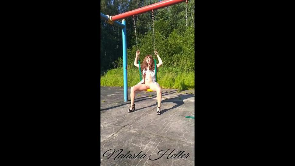 naked girl with big boobs playing on the Playground