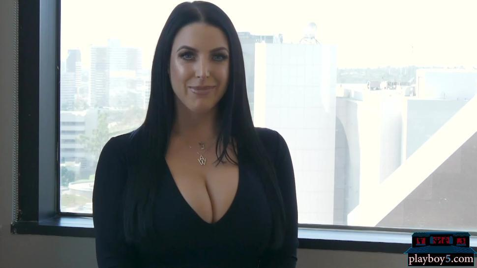 Up close with natural huge boobs MILF pornstar Angela White