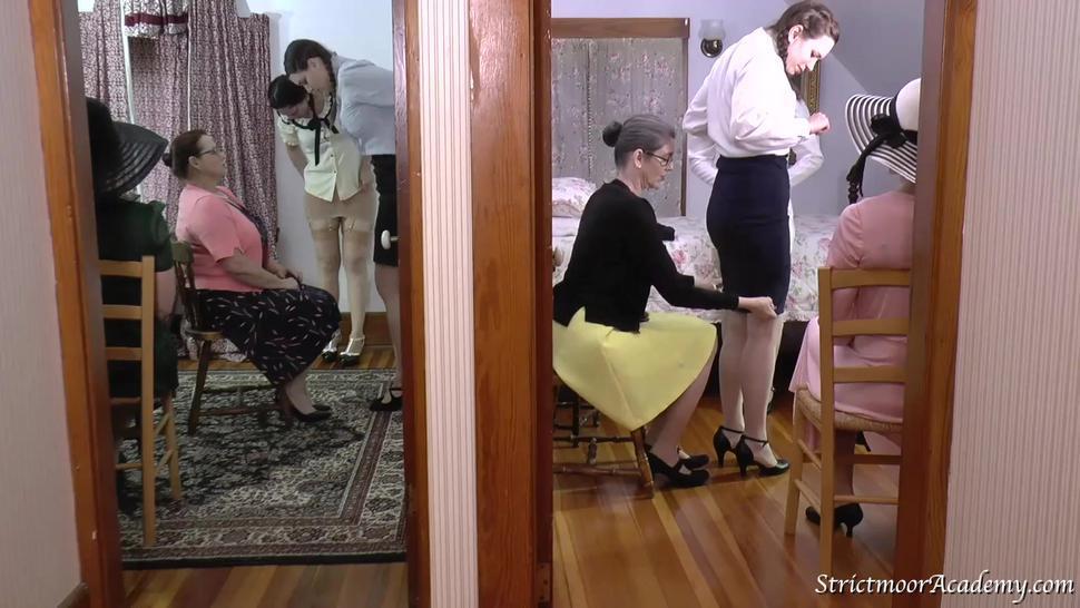 college life 5 hairbrush spanking on vintage underwear and white panties