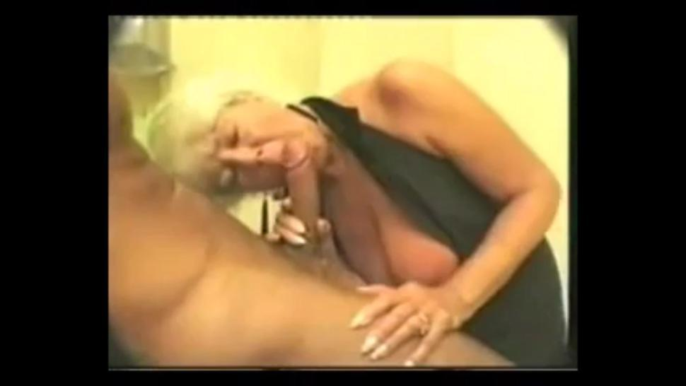 Old mom giving a passionate blowjob to young cock and get cum in mouth