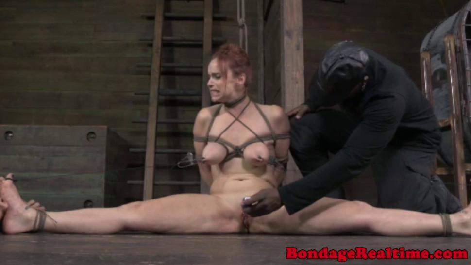 Breast bondage sub getting toyed