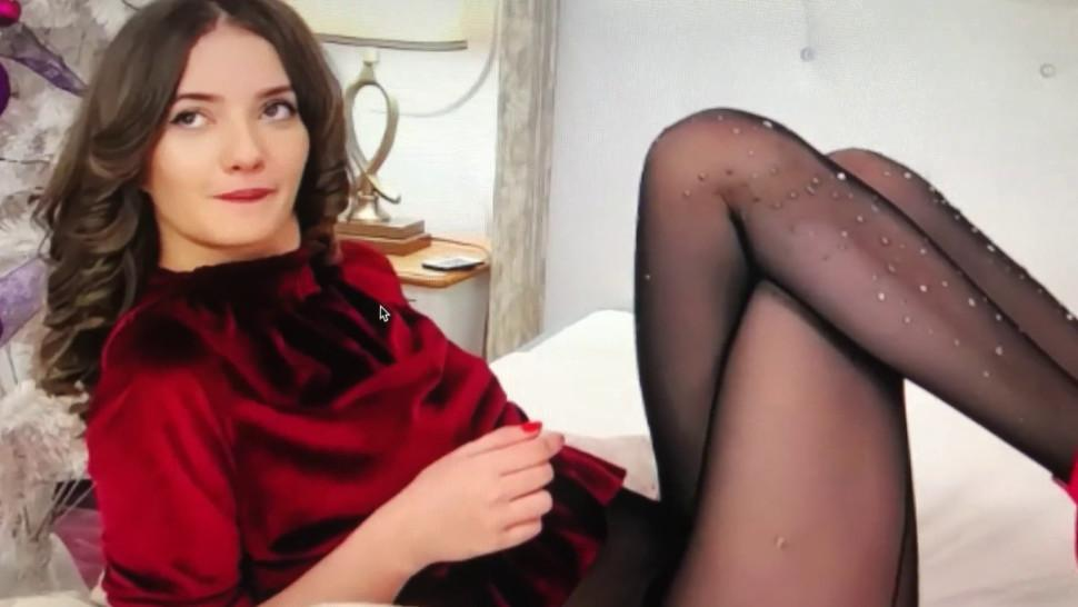 Amazing Young Goddess in Black Pantyhose Tease and High Heels Dangling
