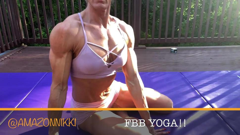 6ft Amazon muscle MILF does yoga in spandex shorts and sports bra! *preview*