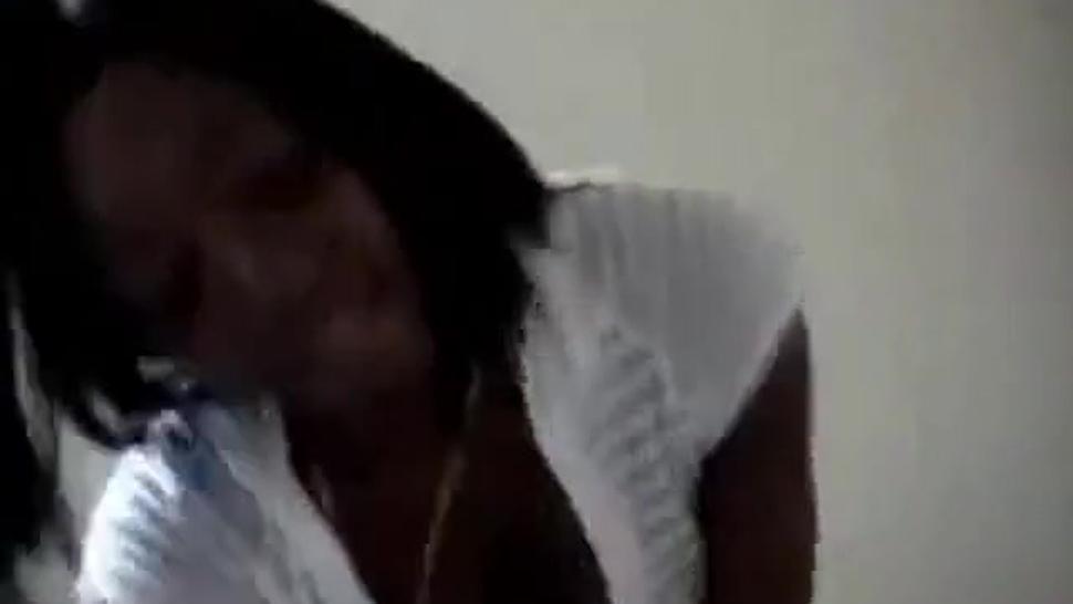 Ebony girl enjoying white meat