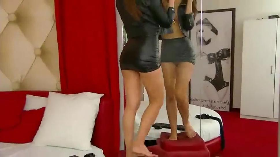 Sexy woman dancing in leather