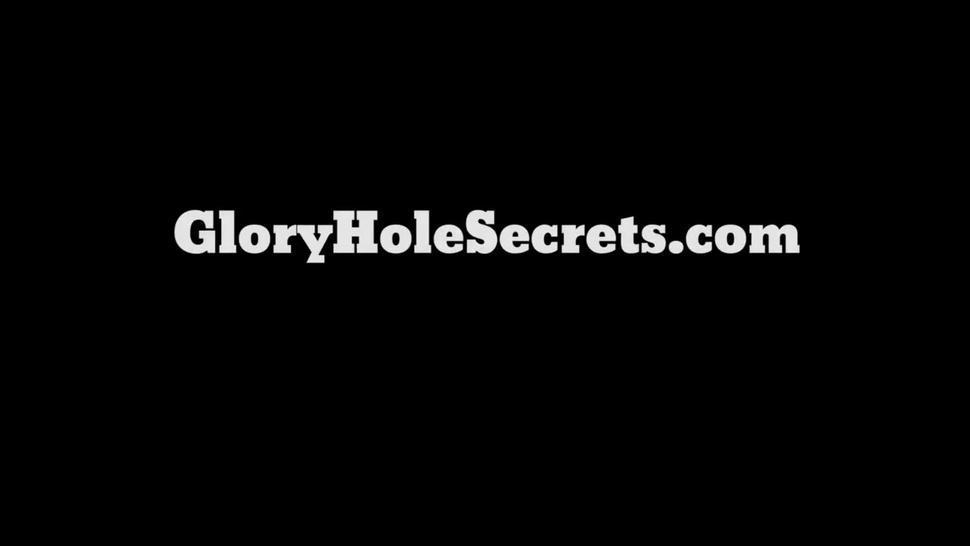 Gloryhole Secrets Alyssa Lynn swallowing mouthfuls of cum
