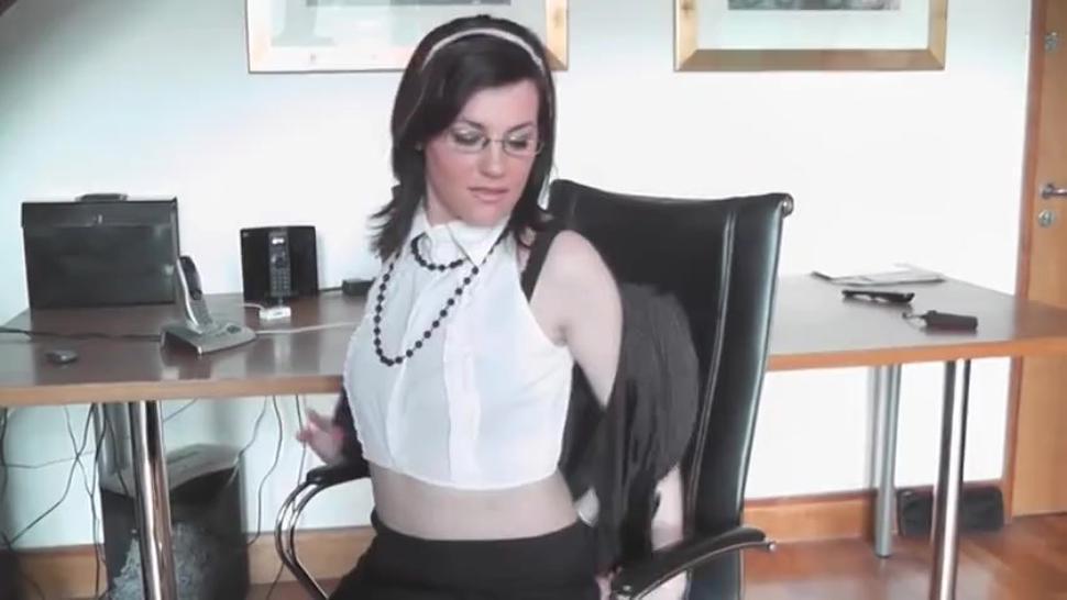 Horny Scottish milf Sofia Matthews fingers her both holes in the office wearing suntan stockings
