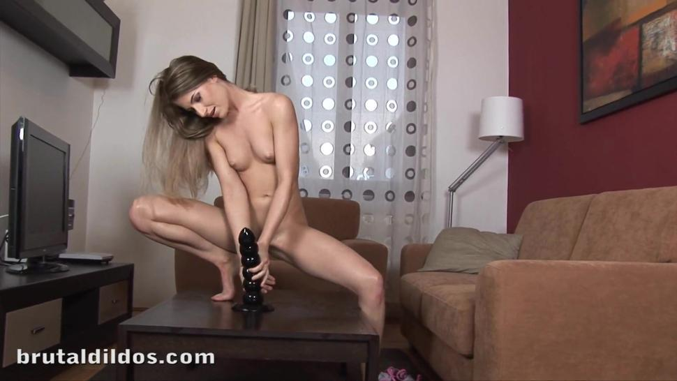 BRUTAL DILDOS - Babe has many squirting orgasms from massive brutal dildo rippler