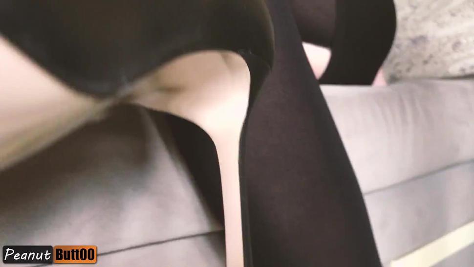 TEASER dress high heels legjob, shoejob, footjob, cum on feet in stockings