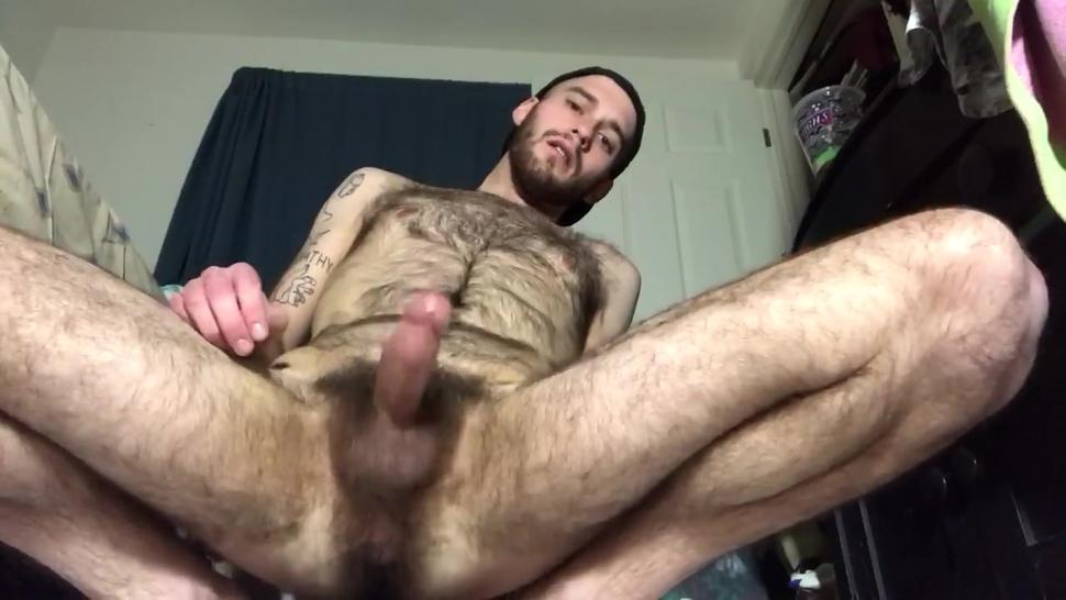 Hairy guy shoots a load