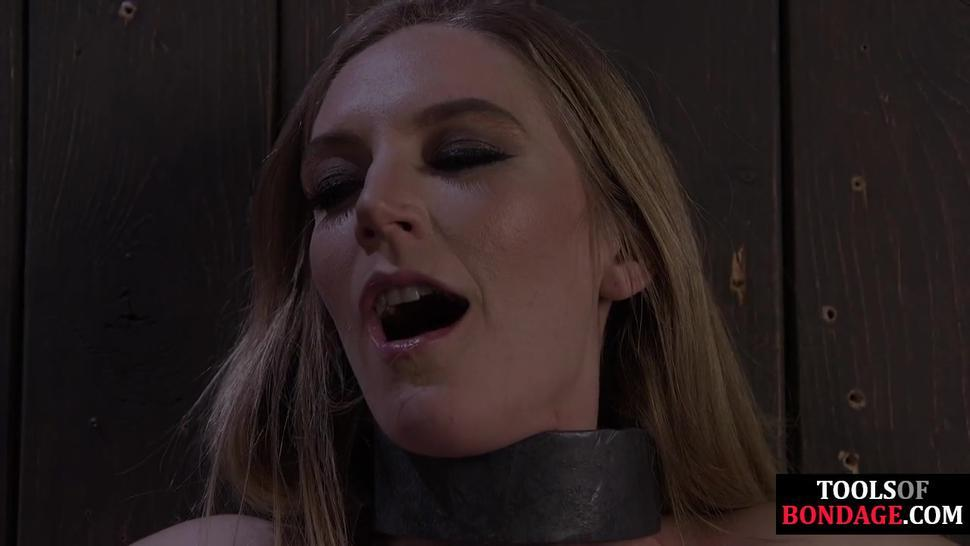 DEVICE BONDAGE - Bound sub clamped and whipped by her master